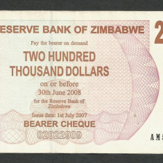 ZIMBABWE 200000 200.000 DOLARI DOLLARS 2007 [04] P-49, XF - bancnota africa