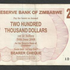 ZIMBABWE 200000 200.000 DOLARI DOLLARS 2007 [08] P-49, XF - bancnota africa