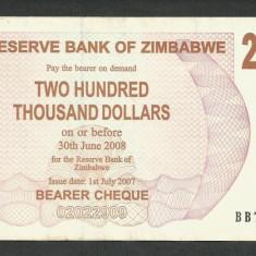 ZIMBABWE 200000 200.000 DOLARI DOLLARS 2007 [01] P-49, XF+ - bancnota africa