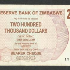 ZIMBABWE 200000 200.000 DOLARI DOLLARS 2007 [13] P-49, VF+ - bancnota africa