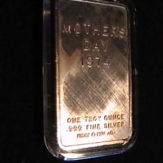 -NUMISMATICA-MOTHER, S DAY-1974-1 UNCIE AG- IN CASETA DE PLASTIC . PROTECTIE-, Europa, Argint