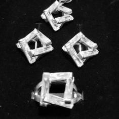 Set bijuterii argint, model geometric decor cu baghete din zirconiu transparent
