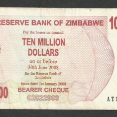 ZIMBABWE 10000000 10.000.000 DOLARI DOLLARS 2008 [20] P-55 - bancnota africa