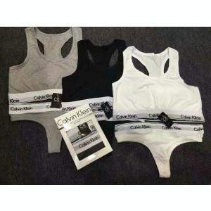 Set bustiera + chilot Calvin Klein negru / gri/alb !