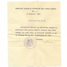 Z49DOCUMENT VECHI-AUTORIZATIE SANITARA ALIMENTARE APA-SULINA-ANUL 1922OCTOMBRIE8