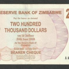 ZIMBABWE 200000 200.000 DOLARI DOLLARS 2007 [6] P-49, XF - bancnota africa