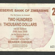 ZIMBABWE 200000 200.000 DOLARI DOLLARS 2007 [9] P-49, VF++ - bancnota africa