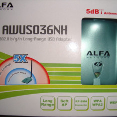 Antena usb long range, WI-FI Alfa Network N, originala, noua.