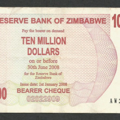 ZIMBABWE 10000000 10.000.000 DOLARI DOLLARS 2008 [26] P-55 - bancnota africa