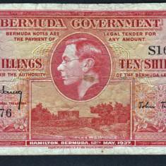 Bermuda 10 Shillings - single letter!!!1937 P#10a - bancnota america