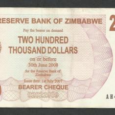 ZIMBABWE 200000 200.000 DOLARI DOLLARS 2007 [8] P-49, XF - bancnota africa