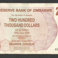 ZIMBABWE 200000 200.000 DOLARI DOLLARS 2007 [15] P-49, VF - bancnota africa