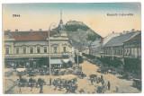 3692 - Hunedoara, DEVA, Market - old postcard - unused, Necirculata, Printata