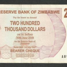 ZIMBABWE 200000 200.000 DOLARI DOLLARS 2007 [07] P-49, XF - bancnota africa