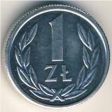 Polonia   1 zloty (zlot)  1989  _ UNC (necirculat), Europa, Aluminiu