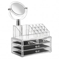 Organizator cosmetice cu oglinda si 4 sertare