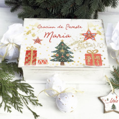 Red Christmas Ornaments Box – cutie personalizata de Craciun cu ornamente - Ornamente Craciun