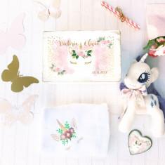 Unicorn Baby Gift Set- Cadou Bebe cu Jucarie si Paturica Personalizata