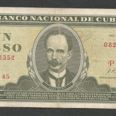 CUBA 1 PESO 1970 [1] P-102a.4, VF - bancnota america