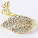Inel Special Cristale zirconiu ajustabil,dublu placat aur 18K, 46 - 56