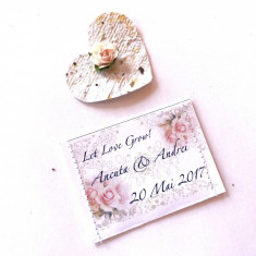 Marturii nunta hartie plantabila Dusty Pink – inimioara hartie seminte