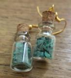 Cercei sticlute cu malachit
