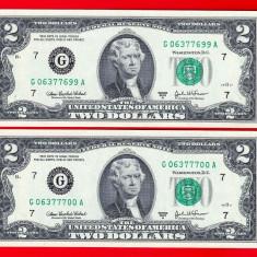 S.U.A. LOT 2x 2 DOLARI / DOLLARI 2003 SERII CONSECUTIVE. UNC. - bancnota america