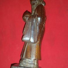 Statueta veche lemn- Zeitate, semnat pe spate soclu H= 18, 5 cm, sculptat manual - Arta din Asia