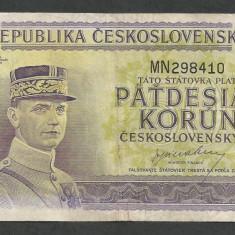 CEHOSLOVACIA 50 COROANE KORUN 1945 [1] P-62a, VF - bancnota europa