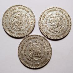 Colectie 3 monede mari de argint Mexic 1958 1961 1962, America de Nord