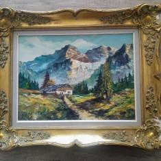 Peisaj montan cu cabana/ ulei pe panza, semnat Carlos - Pictor strain, Peisaje, Acuarela, Altul