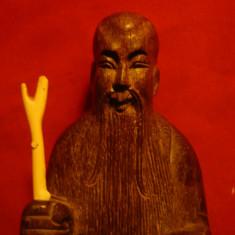 Statueta veche lemn si fildes- Zeitate, semnat pe spate soclu H= 18, 5 cm - Arta din Asia