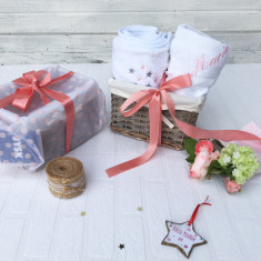 Twinkle Twinkle Little Star Baby Gift Basket – Set Cadou Nou Nascut cu Paturica si Prosop - Prosop baie copii