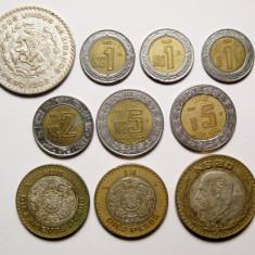 Colectie 10 monede Mexic bimetal si argint 1962 2006, America de Nord