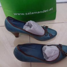 Pantofi dama din piele naturala - Pantof dama, Culoare: Albastru, Marime: 38, Cu toc