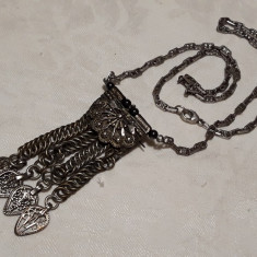 Rar COLIER argint etnic TRIBAL afghan MASIV splendid VECHI si BROSA lant SUPERB