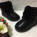 Cizme negre imblanite de iarna cu urechi blanita piele eco fete copii 33 34