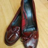 Pantofi din piele marimea 39, arata impecabil! - Pantof dama, Culoare: Bordeaux, Piele naturala, Cu toc