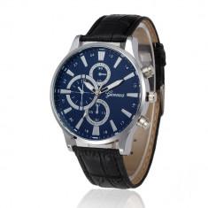 Ceas barbati - marca Geneva model 4 - cadran albastru - Ceas barbatesc Geneva, Casual, Quartz, Inox, Piele ecologica, Analog