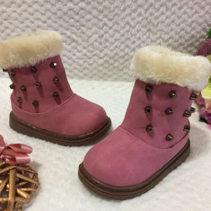 Cizme iarna roz imblanite tinte metalice si fermoar fetite copii 21 25 26, Fete, Din imagine