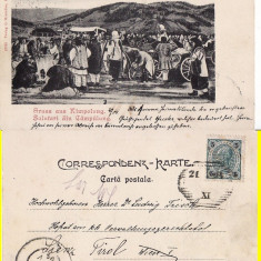 Campulung Moldovenesc ( Bucovina, Suceava )- Piata-clasica, RRR - Carte Postala Bucovina pana la 1904, Circulata, Printata