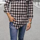 Camasa asimetrica barbat- camasa slim fit camasa carouri camasa eleganta cod 156 - Camasa barbati, Marime: S, M, L, XL, Culoare: Din imagine, Maneca lunga