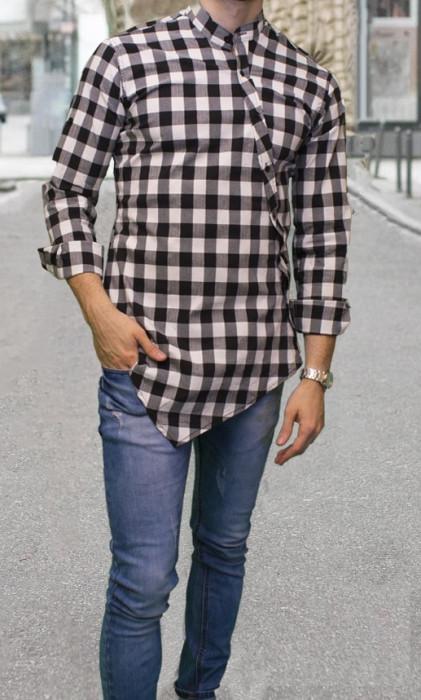 Camasa asimetrica barbat- camasa slim fit camasa carouri camasa eleganta cod 156