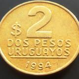 Moneda 2 Pesos Uruguayanos - URUGUAY, anul 1994 *cod 577 --- XF, America Centrala si de Sud