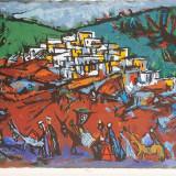 Marcel Iancu (Janco) - Peisaj oriental /Lucrare deosebita, semnata, format mare - Litografie