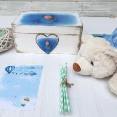 The Bear & The Magic Box Baby Boy Gift Set- Cadou Bebe Personalizat