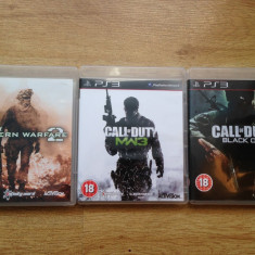 3 jocuri PLAYSTATION 3 / PS3 : CALL OF DUTY Modern Warfare 2, 3 + BLACK OPS - Jocuri PS3