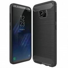 Husa Carbon pentru Samsung Galaxy S6 Edge, Negru