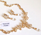 Cumpara ieftin OFERTA-Set bijuterii dama mireasa-colier si cercei-placat cu aur 18k, swarovski