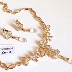 Set bijuterii dama mireasa-colier si cercei-placat cu aur 18k, swarovski